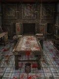 Stół i wiadro z krwią ilustracja wektor