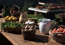 Stół pełno świeży ogród - rozmaitość warzywa Fotografia Royalty Free
