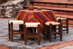 Stół w herbacianej kawiarni w Istanbuł Zdjęcie Stock