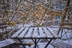 Stół z śniegiem Zdjęcie Royalty Free