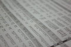 Stół z liczbą, rynek papierów wartościowych analizuje Zdjęcie Stock