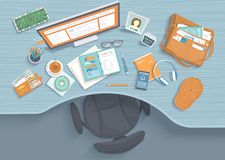 Stół z recesją, karło, monitor, planista, hełmofony, telefon Nowożytny i elegancki miejsce pracy ilustracja wektor