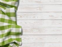 Stół z trawy zieleni odgórnego widoku pyknicznym sukiennym tłem fotografia stock