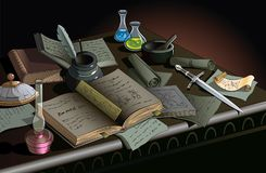 Stół alchemik Zdjęcia Royalty Free