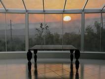 Stół blisko okno, 3d rendering, Obrazy Royalty Free