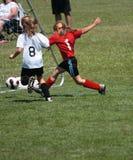 stöd spelarefotboll för mål Arkivbilder