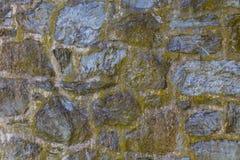 Större stenar i vägg med den gröna tonen Arkivfoto