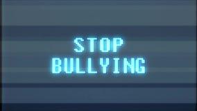 Störschubstörungsgeräuschschirm-Animation Retro- des Videospiel Endeinschüchterungsworttextcomputers nahtlose Schleife der alten  stock footage