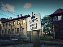 Störst koncentrationsläger i Europa - Auschwitz Birkenau, Polen Oswiecim Fotografering för Bildbyråer
