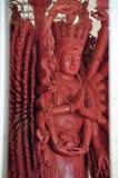 Störst Wood staty av Guan Yin med 1000 händer Fotografering för Bildbyråer