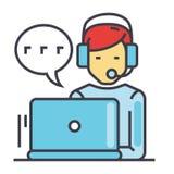 Stötta kundtjänst, mannen med datoren och hörlurar med mikrofon, klientpratstundbegrepp stock illustrationer