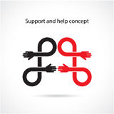 Stötta och hjälp begreppet, teamworkhandbegrepp Arkivfoton