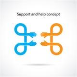 Stötta och hjälp begreppet, teamworkhandbegrepp Arkivbilder