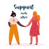 Stötta sig, feminist för två flickamaktkvinnor stock illustrationer