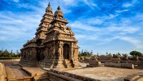 Stötta templet i Mahabalipuram, Tamil Nadu, Indien Arkivbild
