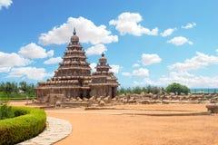 Stötta templet på Mahabalipuram, Tamil Nadu, Indien Royaltyfri Bild