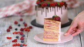 Stück 'des Milchmädchen'Kuchens auf Platte mit Beere auf konkreter grauer Tabelle stock footage