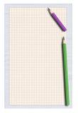 Stück Bleistifte des quadrierten Papiers und des twwo Stockfotos