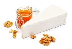 Stück Briekäse oder camambert Käse auf einem weißen Hintergrund Lizenzfreie Stockfotos