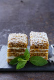 Stück des festlichen Kuchens des köstlichen Nachtischs mit Schokolade Lizenzfreies Stockbild