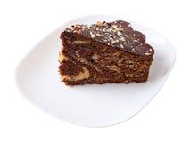Stück des glasig-glänzenden und besprühten Kuchens Stockfotografie