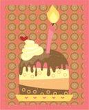 Stück des Kuchens mit einer rosa brennenden Kerze, Stockbild
