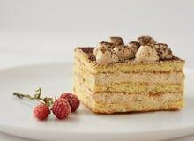 Stück des Kuchens mit Kakao und gefrorene Himbeeren blühen Stockfoto