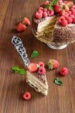 Stück des Schokoladenkuchens mit frischen Beeren Stockfotografie