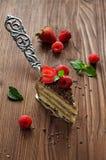 Stück des Schokoladenkuchens mit frischen Beeren Lizenzfreies Stockfoto