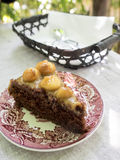 Stück des Schokoladenmacadamiakuchens auf rosa Platte Stockbild