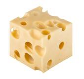 Stück Käse getrennt auf einem weißen Hintergrund stockbild
