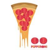Stück Käse-Pizza-Pepperonis Lizenzfreies Stockbild