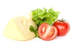 Stück Käse, Tomaten und Salat lizenzfreie stockfotografie