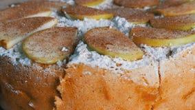 Stück köstlicher traditioneller frisch gebackener selbst gemachter üppiger Apfelkuchen Charlotte reich pulverisiert mit dem Puder stock video