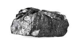 Stück Kohle lokalisiert auf Weiß Stockbilder