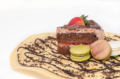 Stück Schokoladenkuchen stockfoto