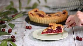 Stück von köstlichem selbst gemachtem Cherry Pie mit einer flockigen Kruste auf rustikalem hölzernem weißem Hintergrund stock video