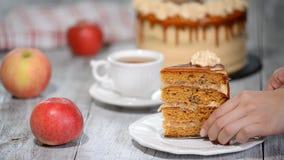 Stück von Karamell-Apfelkuchen mit Gewürzen, Zimt, sahniges Karamell in der Herbstart stock footage