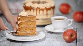 Stück von Karamell-Apfelkuchen mit Gewürzen, Zimt, sahniges Karamell in der Herbstart stock video footage