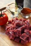 Stückchen casseroled Fleisch mit Tomaten Lizenzfreies Stockbild