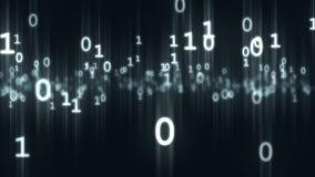 Stückchen- und Bytezahlpartikel des Computers binäre Wiedergabe 3d Lizenzfreie Stockfotografie