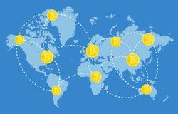 Stückchenmünzen-Network Connection, die aus Geld besteht Stockfoto