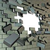 In Stücke Backsteinmauer mit einem copyspace Loch gebrochen lizenzfreie abbildung