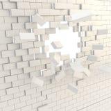 In Stücke Backsteinmauer mit einem copyspace Loch gebrochen stock abbildung