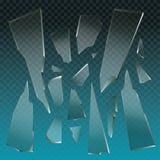 Stücke des defekten Glasvektors Lizenzfreie Stockbilder