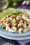 Stücke des Huhns mit Reis, Pfirsich und Petersilie in der weißen Schüssel getrennt auf weißem Hintergrund Lizenzfreies Stockfoto
