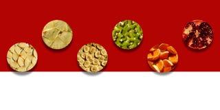 Stücke frische Früchte innerhalb der Kreisformen Stockfoto