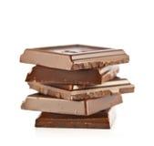 Stücke Schokolade stockfotografie