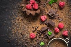 Stücke Schokolade, frische Himbeeren und Tartlets vorbereitung Lebensmittelnachtischhintergrund lizenzfreies stockbild