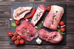 Stücke unterschiedliches Frischfleisch lizenzfreie stockbilder